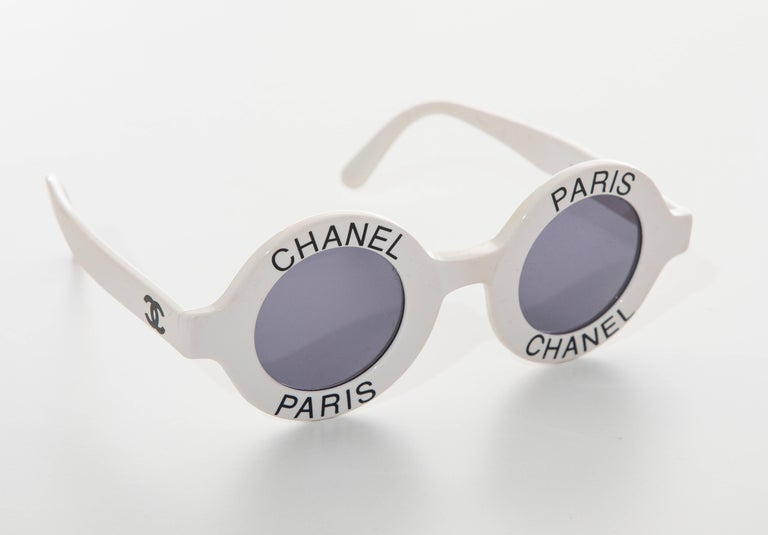 Gray Chanel Runway Logo Round White Sunglasses With Tinted Lenses, Spring 1993 For Sale