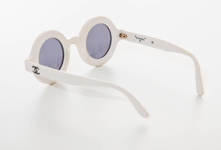 Chanel Runway Logo Round White Sunglasses With Tinted Lenses, Spring 1993 For Sale 3