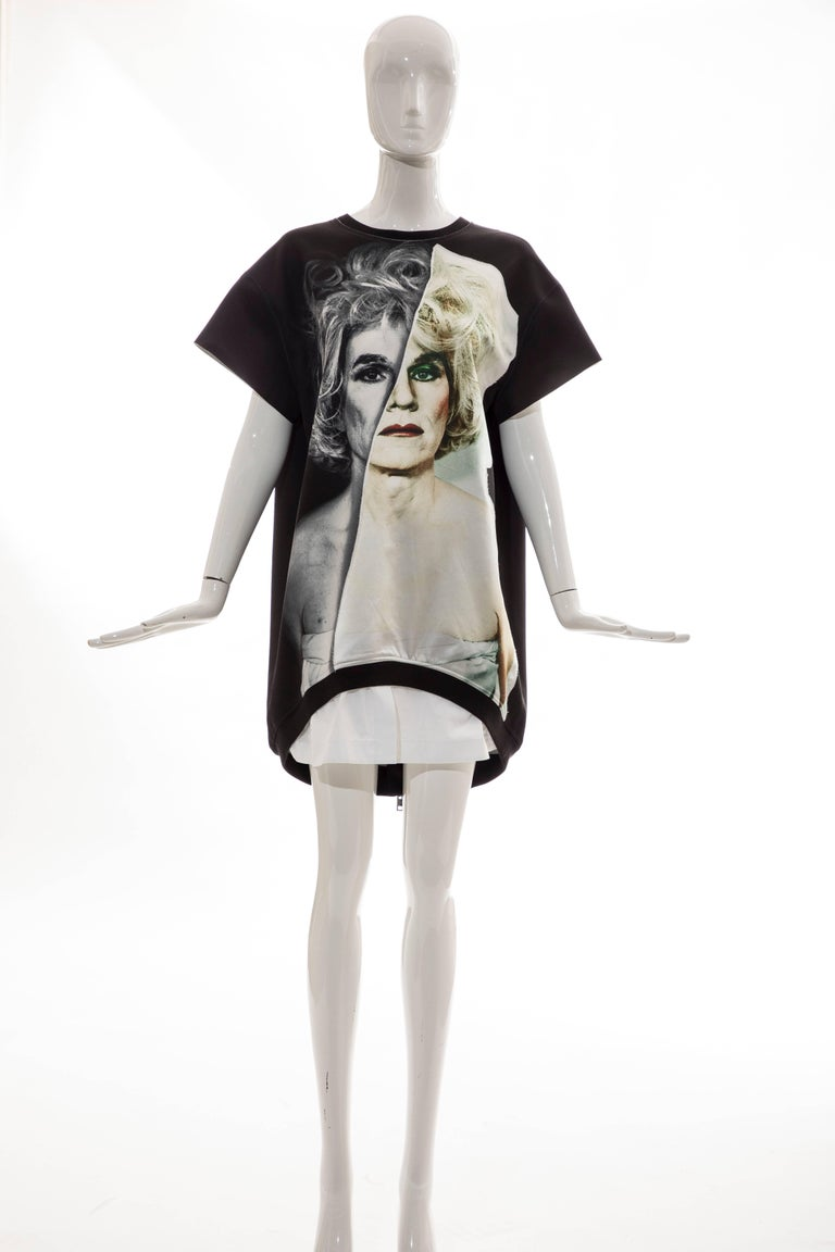 Christopher Makos for PORTS 1961, Circa 2014  Andy Warhol altered images capsule collection, black, silk, cotton, polyester, mini dress with round neck, raglan sleeve, asymmetric hem and back zip closure.   Size: Medium  Bust: 44, Waist: 46, Hip 46,