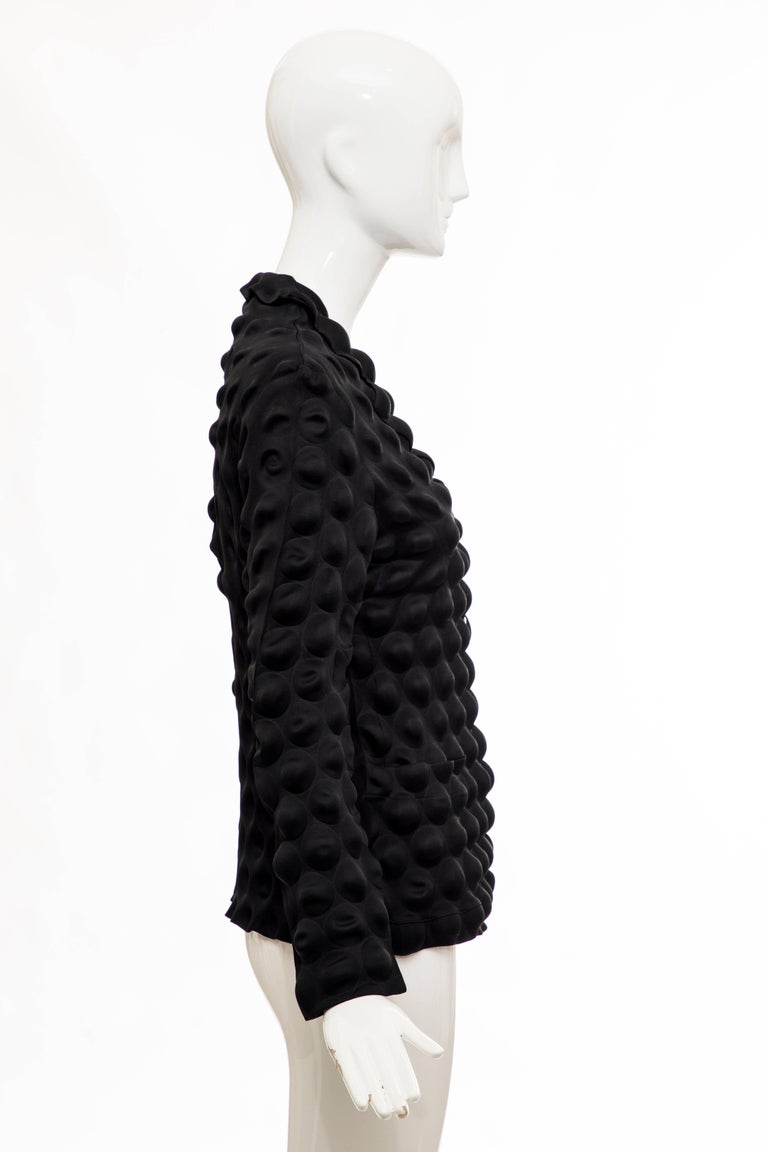 Issey Miyake Black Egg Carton Snap Front Blazer, Fall 2000 For Sale 1