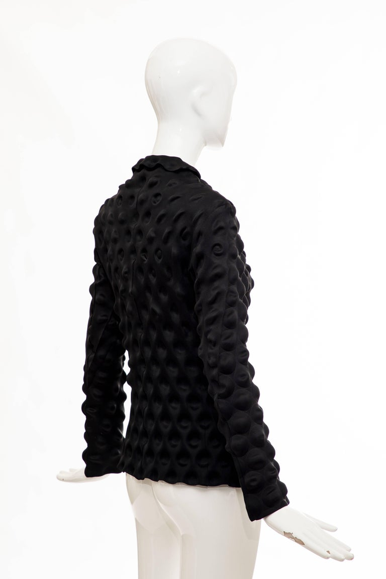 Issey Miyake Black Egg Carton Snap Front Blazer, Fall 2000 For Sale 2
