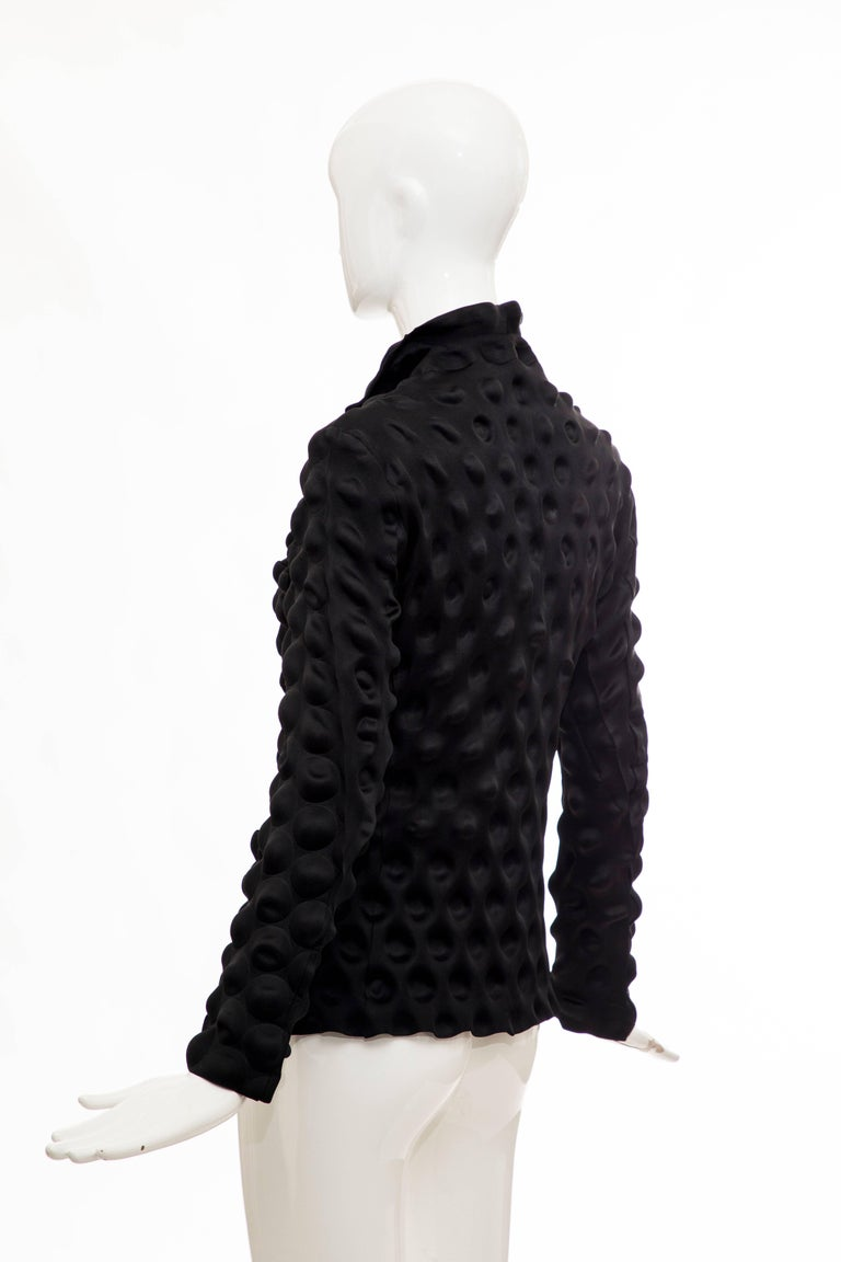 Issey Miyake Black Egg Carton Snap Front Blazer, Fall 2000 For Sale 3
