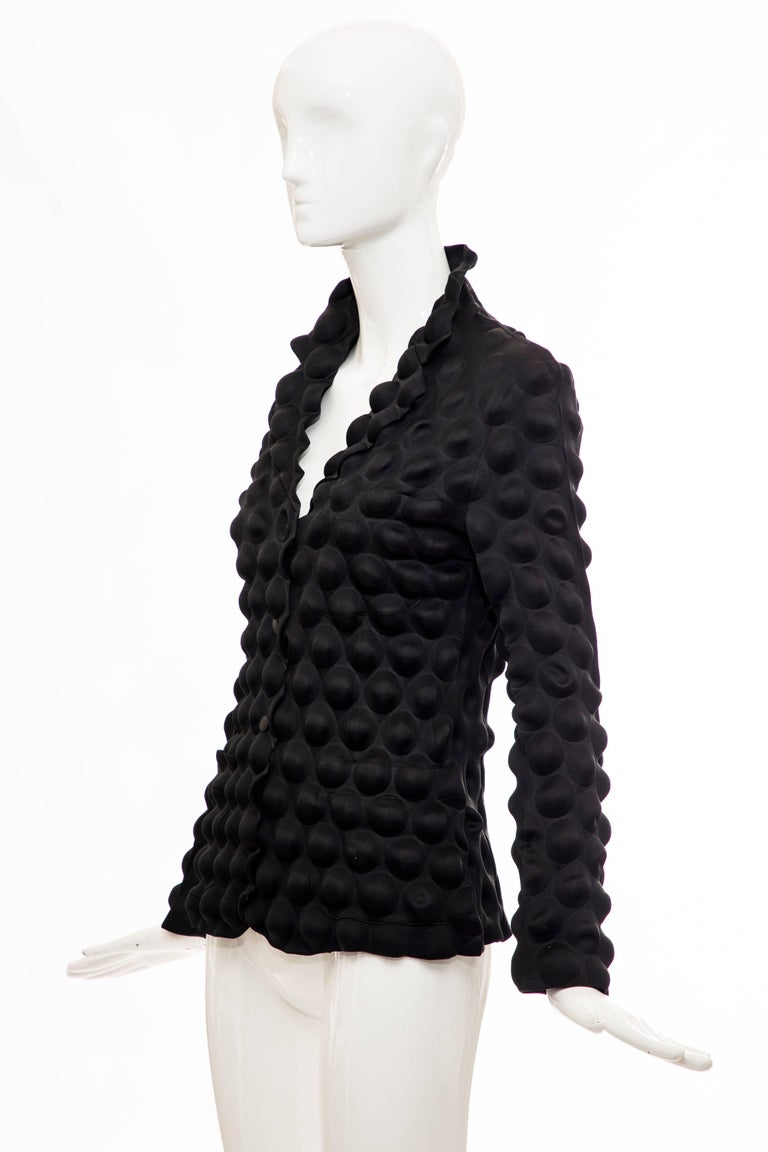 Issey Miyake Black Egg Carton Snap Front Blazer, Fall 2000 For Sale 5