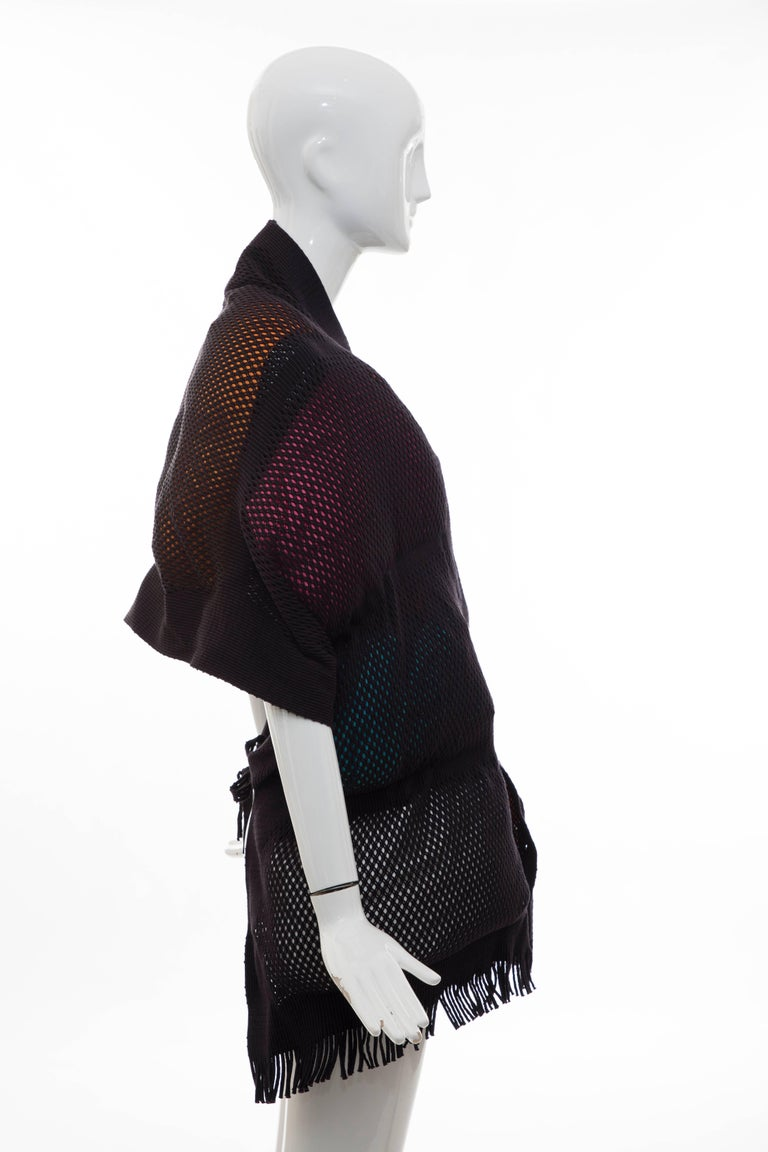 Black Issey Miyake Runway Nylon Cotton Open Knit Overlay Puffer Scarf, Fall 2012 For Sale