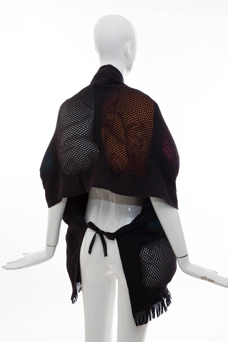 Issey Miyake Runway Nylon Cotton Open Knit Overlay Puffer Scarf, Fall 2012 In Excellent Condition For Sale In Cincinnati, OH