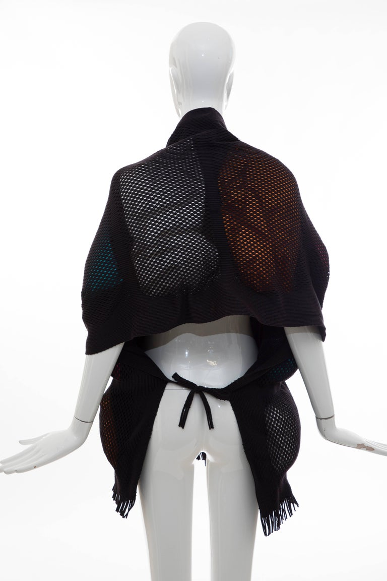 Women's Issey Miyake Runway Nylon Cotton Open Knit Overlay Puffer Scarf, Fall 2012 For Sale