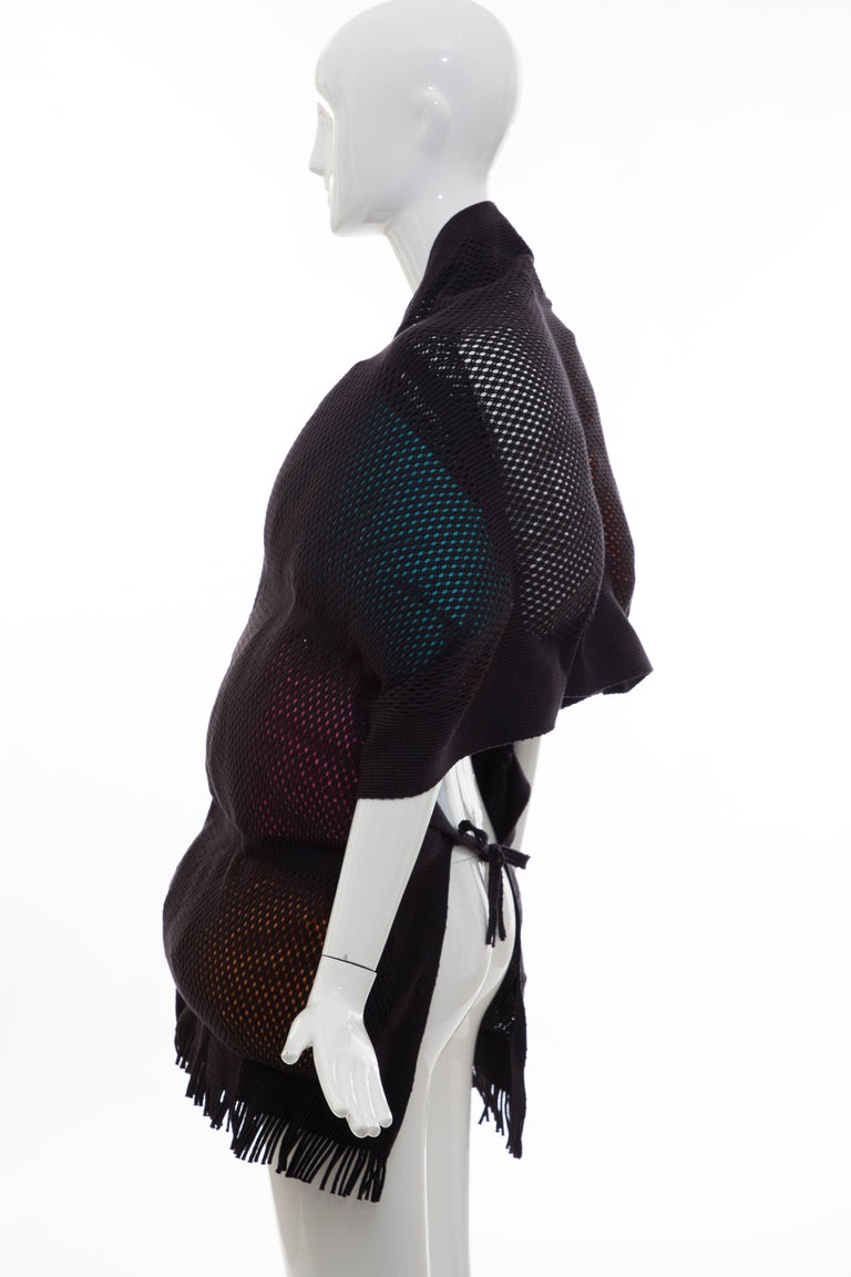 Issey Miyake Runway Nylon Cotton Open Knit Overlay Puffer Scarf, Fall 2012 For Sale 1