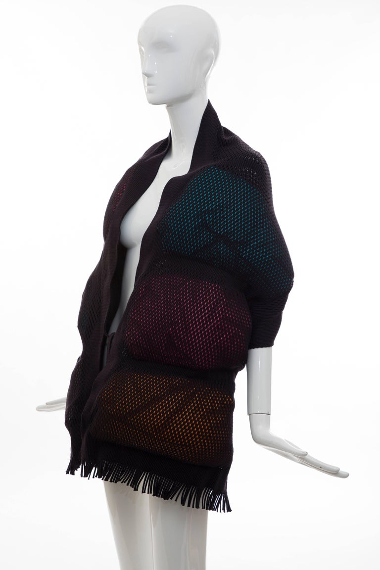 Issey Miyake Runway Nylon Cotton Open Knit Overlay Puffer Scarf, Fall 2012 For Sale 2