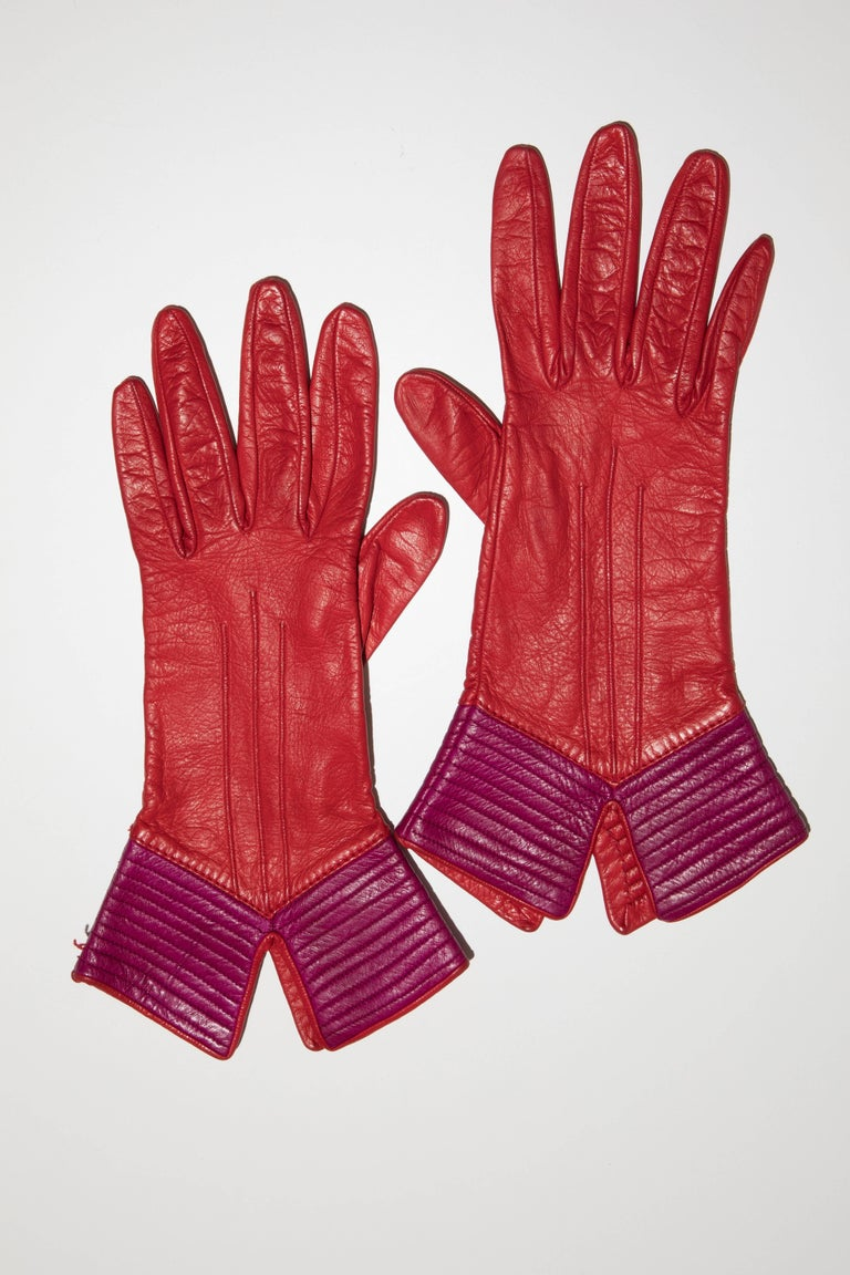 Red Yves Saint Laurent Color-Block Leather Gloves Silk Lining, Circa 1970s For Sale