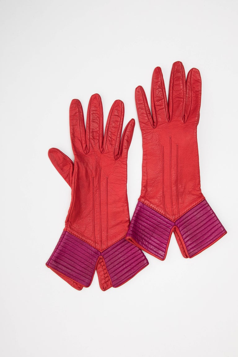 Women's Yves Saint Laurent Color-Block Leather Gloves Silk Lining, Circa 1970s For Sale