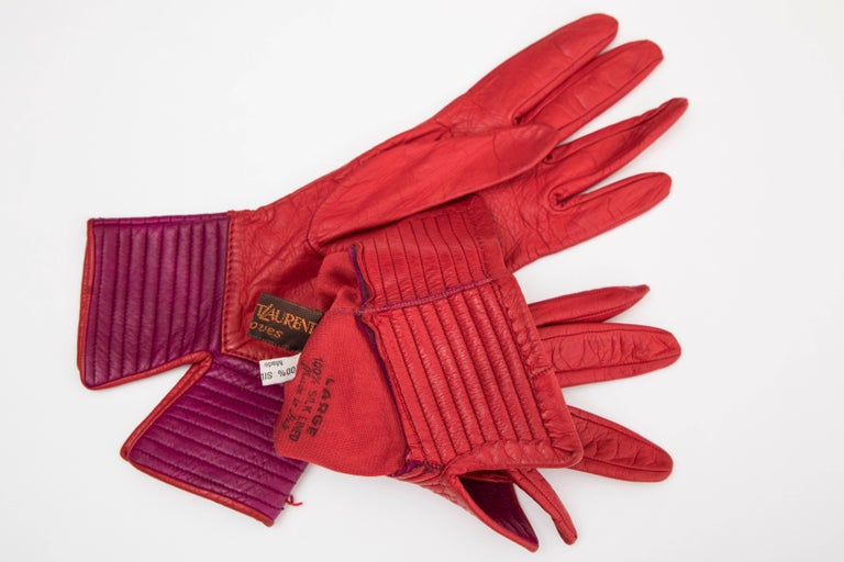 Yves Saint Laurent Color-Block Leather Gloves Silk Lining, Circa 1970s For Sale 1