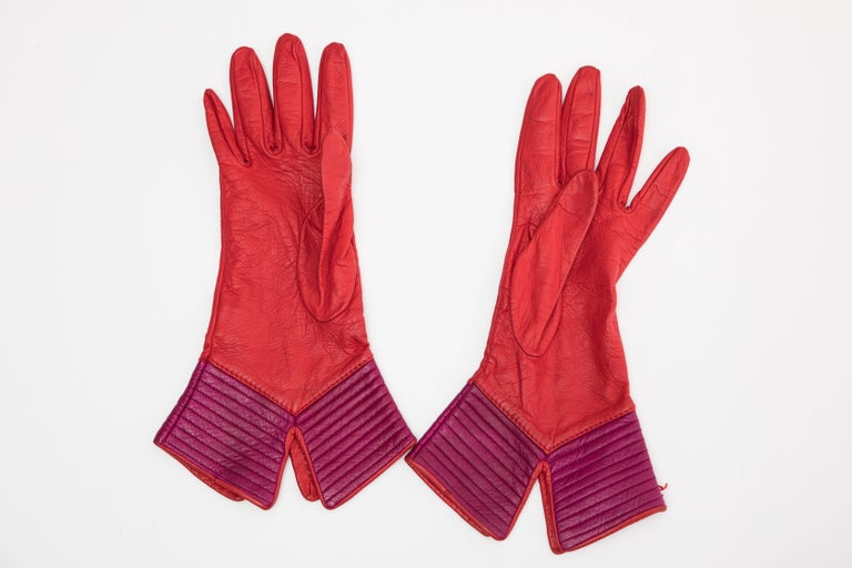 Yves Saint Laurent Color-Block Leather Gloves Silk Lining, Circa 1970s For Sale 2