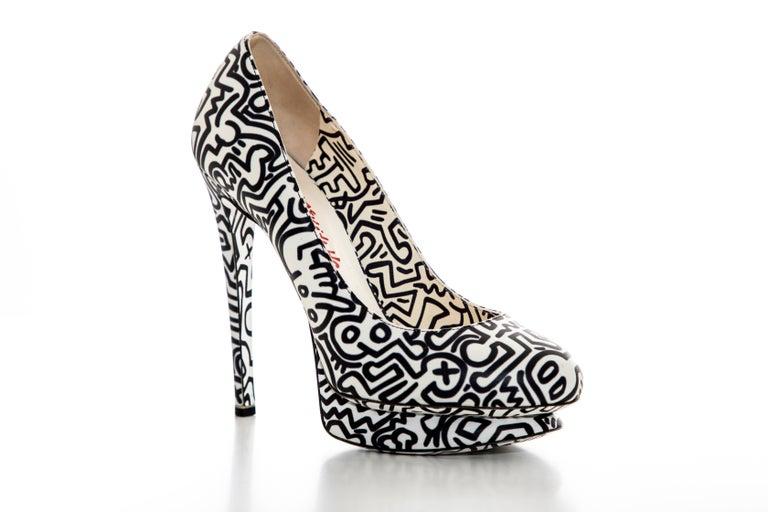 Nicholas Kirkwood Keith Haring Collection, Spring 2011 leather printed platform pumps.   IT. 36.5, US. 6.5  5.25 heel & 0.84 platform.
