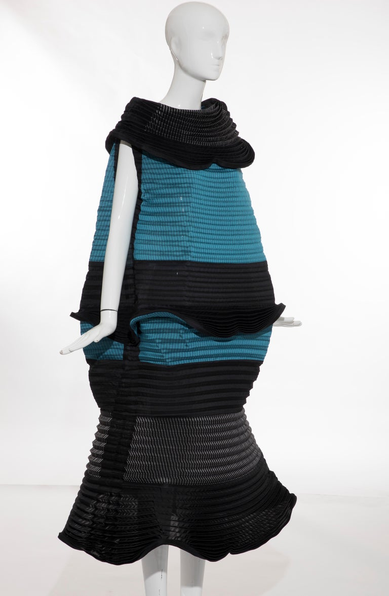 Black Issey Miyake Runway Pleated Dress, Fall 2014 For Sale