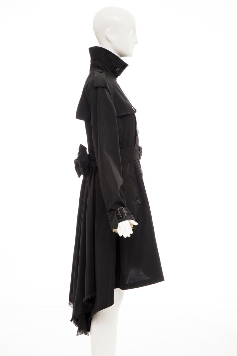 Women's Jean Paul Gaultier Runway Black Double Breasted Trench Coat, Fall 2007 For Sale