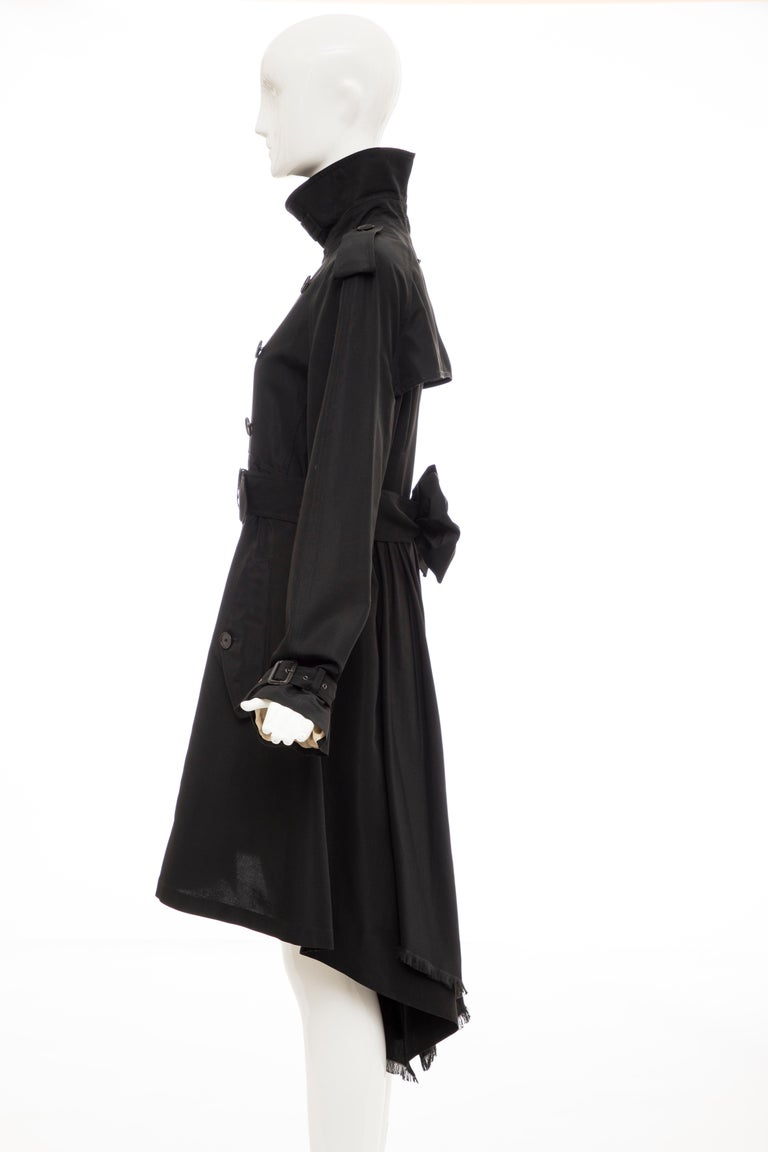 Jean Paul Gaultier Runway Black Double Breasted Trench Coat, Fall 2007 For Sale 8