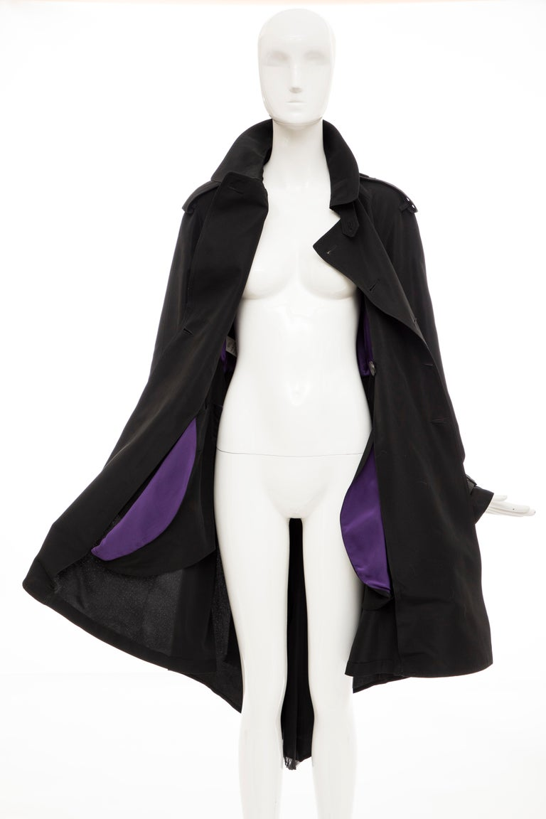 Jean Paul Gaultier Runway Black Double Breasted Trench Coat, Fall 2007 For Sale 11