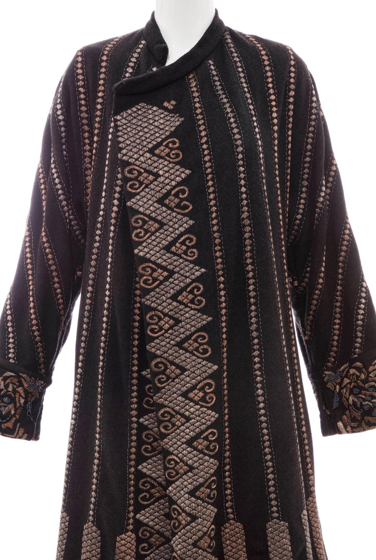 Women's Dries Van Noten Black Wool Embroidered Coat With Silk Beaded Cuffs, Fall 2003 For Sale