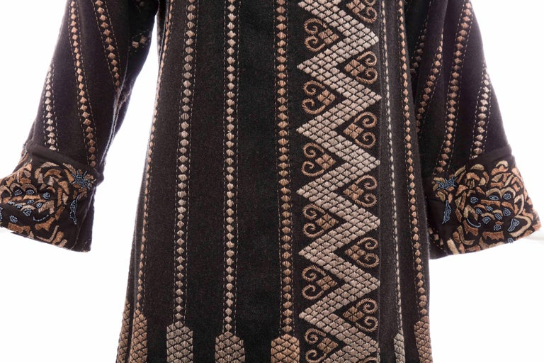 Dries Van Noten Black Wool Embroidered Coat With Silk Beaded Cuffs, Fall 2003 For Sale 2