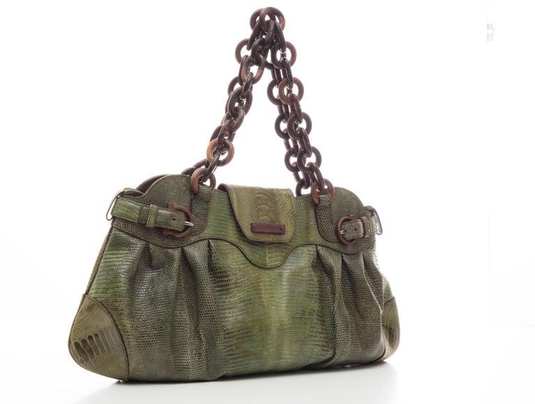 8147ae639e4d Gray Salvatore Ferragamo Olive Green Lizard With Wood Link Straps Handbag  For Sale
