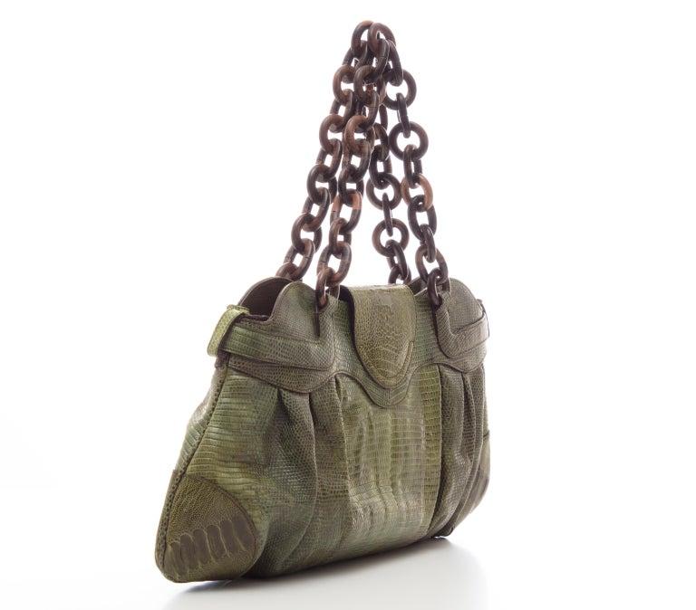 5faa72e13909 Salvatore Ferragamo Olive Green Lizard With Wood Link Straps Handbag For  Sale 1