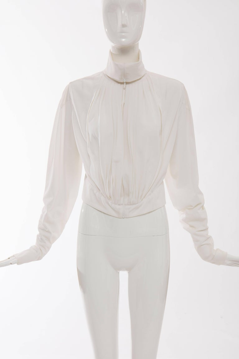 Gray Jean Paul Gaultier White Nylon Zip Front Jacket, Circa 1990s For Sale