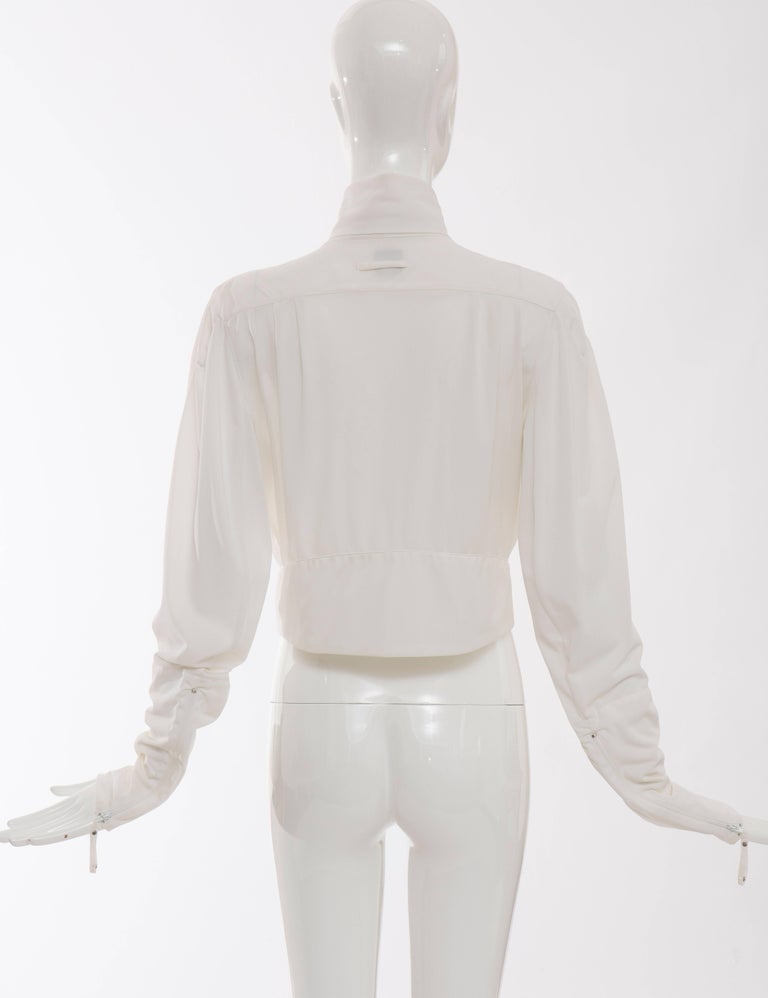 Jean Paul Gaultier White Nylon Zip Front Jacket, Circa 1990s In Excellent Condition For Sale In Cincinnati, OH
