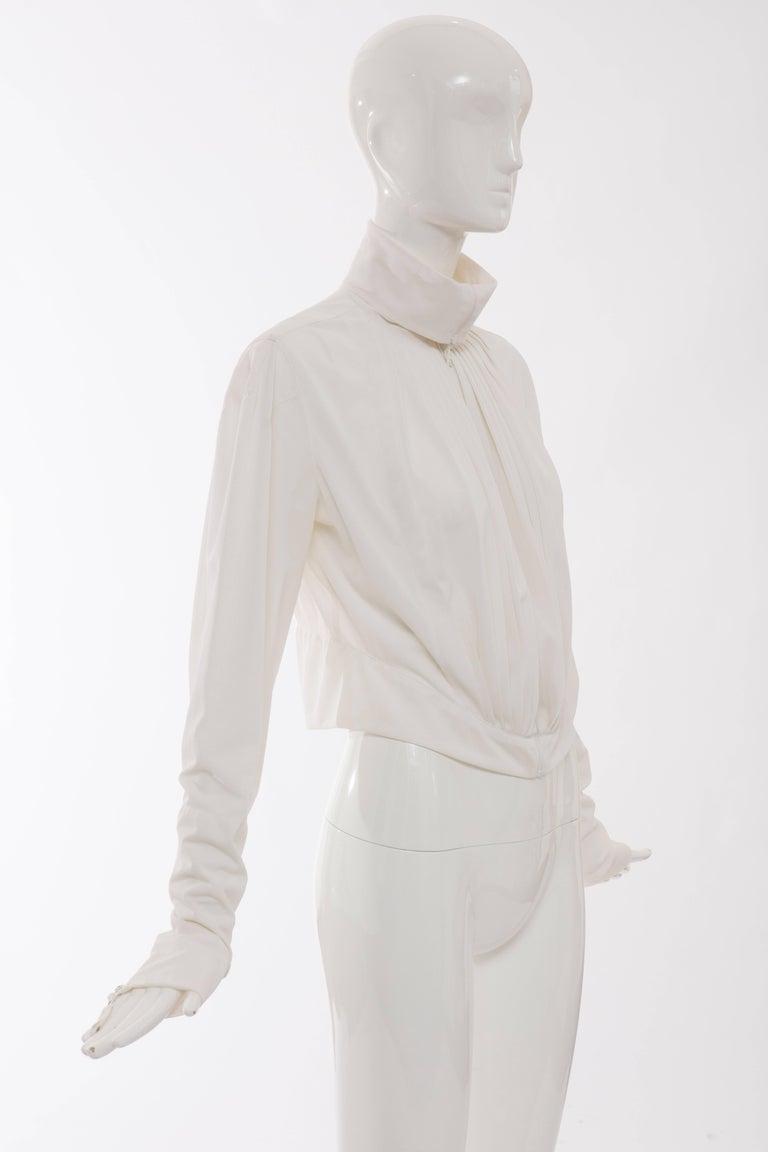 Women's Jean Paul Gaultier White Nylon Zip Front Jacket, Circa 1990s For Sale