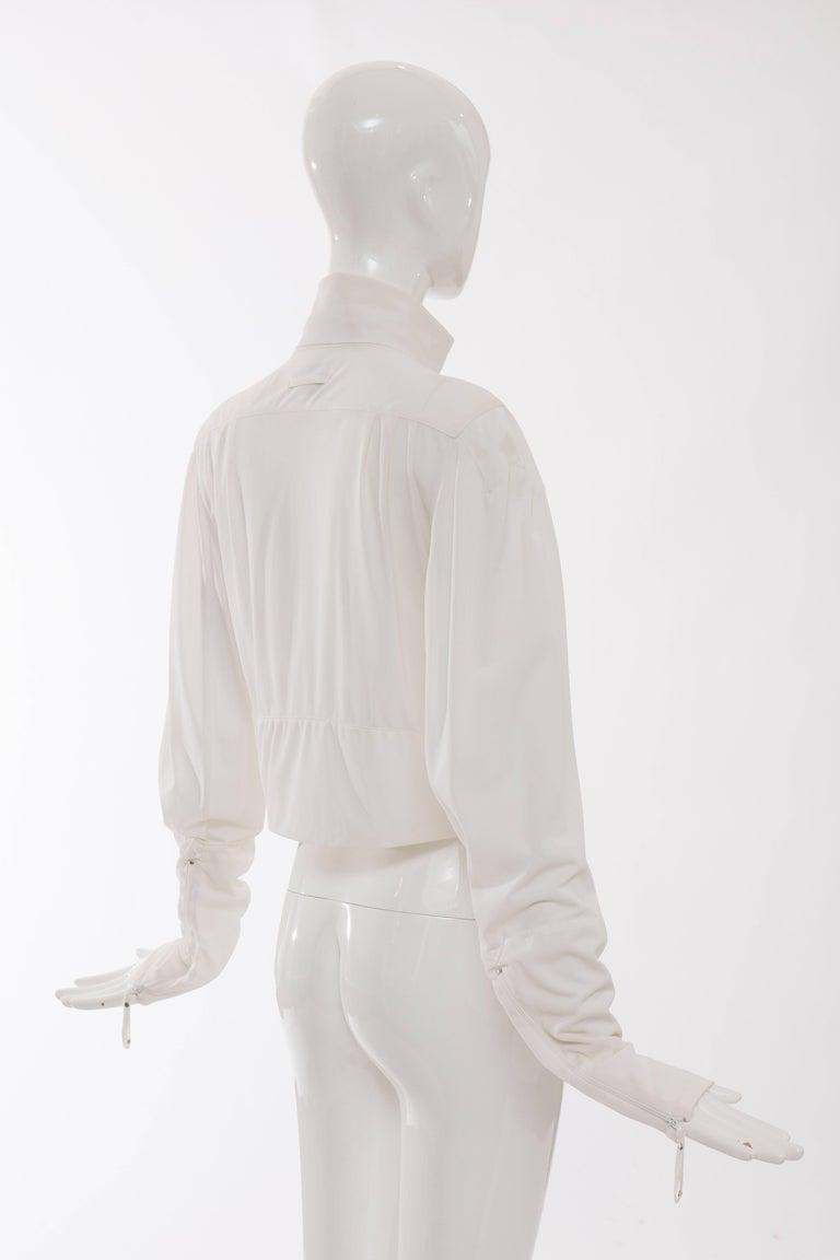 Jean Paul Gaultier White Nylon Zip Front Jacket, Circa 1990s For Sale 2