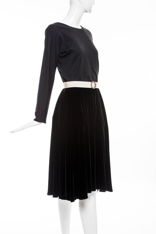 Lanvin Black Wool Jersey Silk Velvet Evening Dress,  Fall 2006 For Sale 4