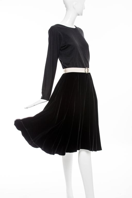 Lanvin Black Wool Jersey Silk Velvet Evening Dress,  Fall 2006 For Sale 3
