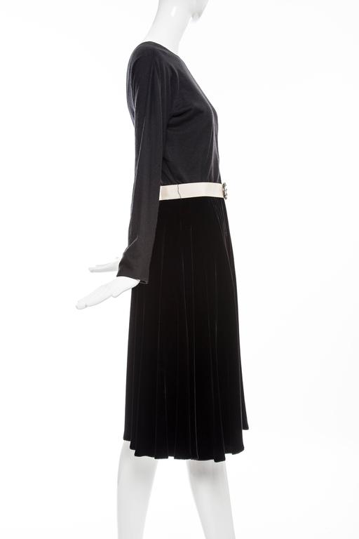 Women's Lanvin Black Wool Jersey Silk Velvet Evening Dress,  Fall 2006 For Sale