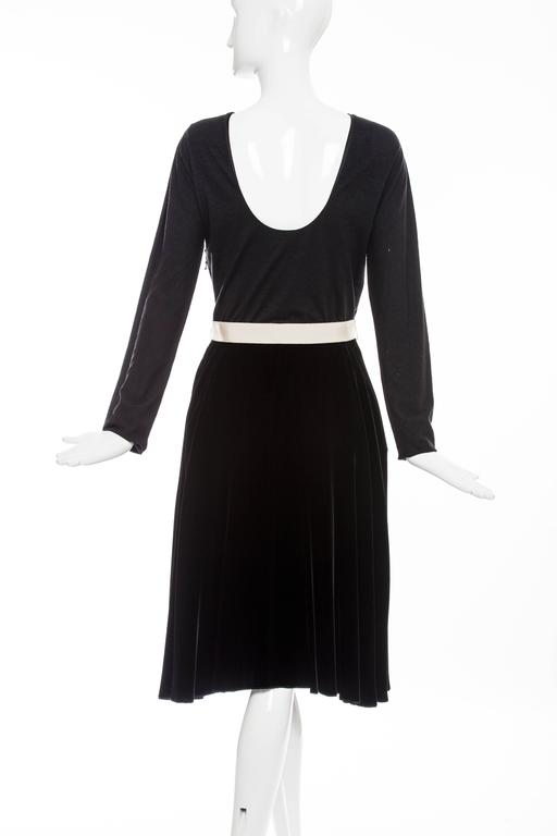 Lanvin Black Wool Jersey Silk Velvet Evening Dress,  Fall 2006 For Sale 1