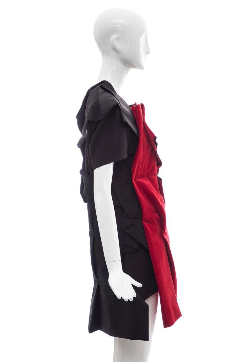 Comme Des Garcons Runway Black Cotton Linen Wool Red Velvet Jacket, Spring 2013 For Sale 1