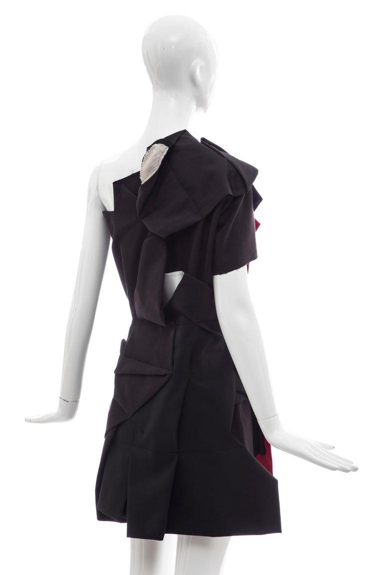Comme Des Garcons Runway Black Cotton Linen Wool Red Velvet Jacket, Spring 2013 For Sale 2