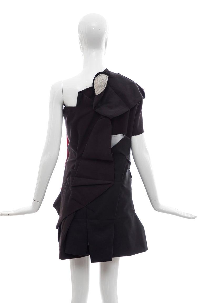 Comme Des Garcons Runway Black Cotton Linen Wool Red Velvet Jacket, Spring 2013 For Sale 3