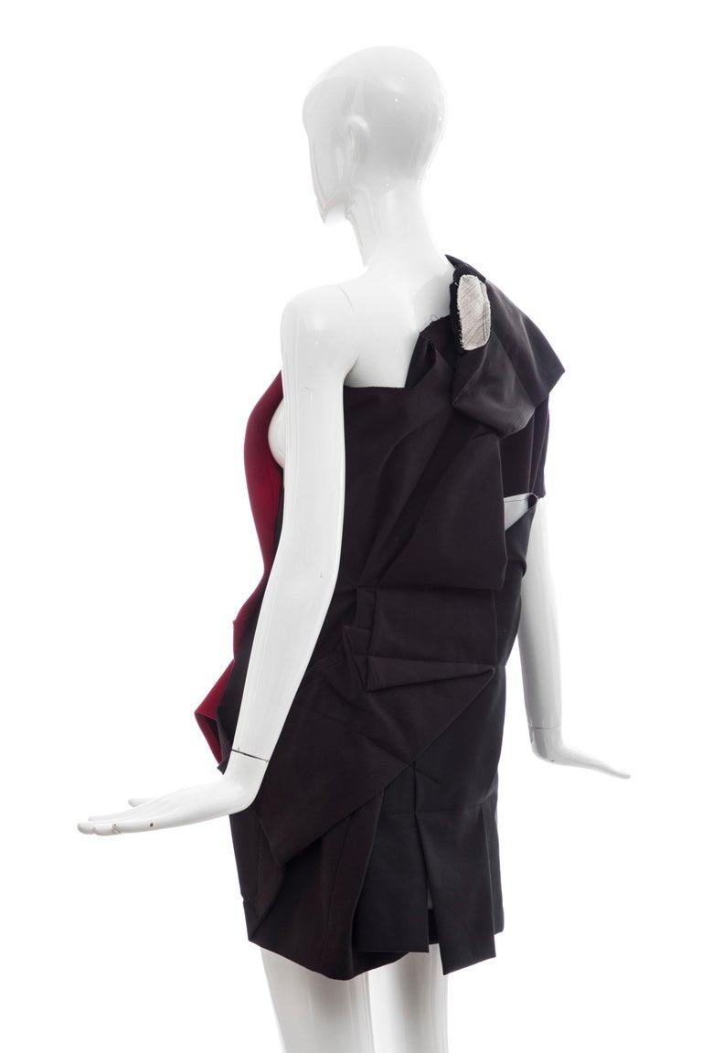 Comme Des Garcons Runway Black Cotton Linen Wool Red Velvet Jacket, Spring 2013 For Sale 4