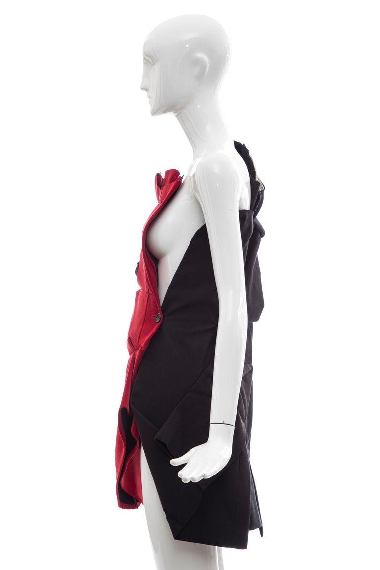 Comme Des Garcons Runway Black Cotton Linen Wool Red Velvet Jacket, Spring 2013 For Sale 5