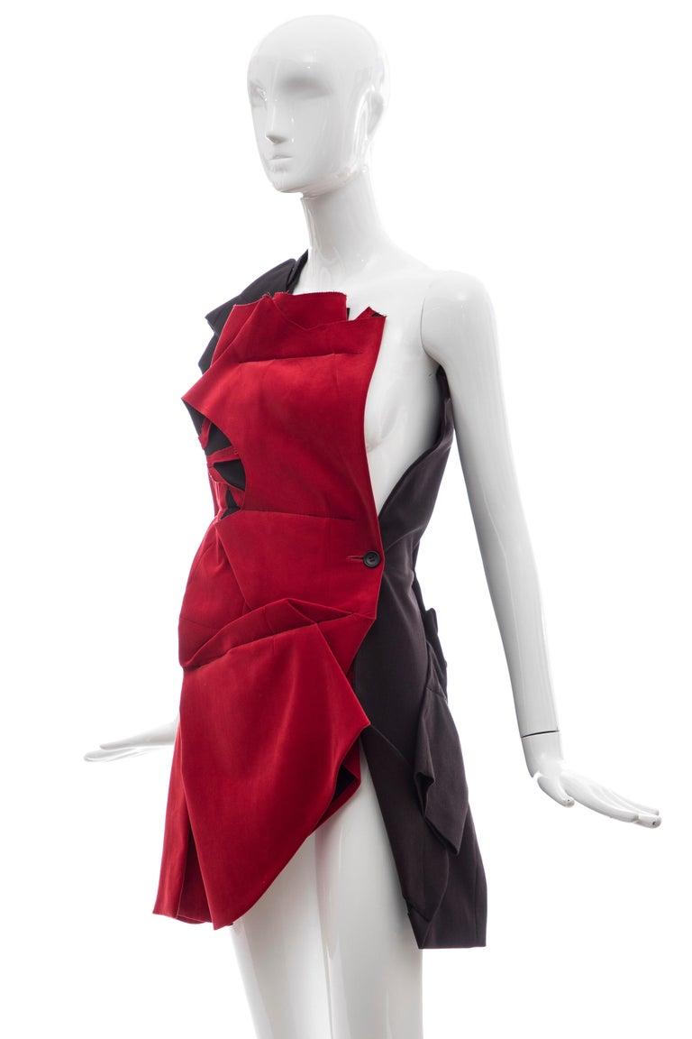 Comme Des Garcons Runway Black Cotton Linen Wool Red Velvet Jacket, Spring 2013 For Sale 6