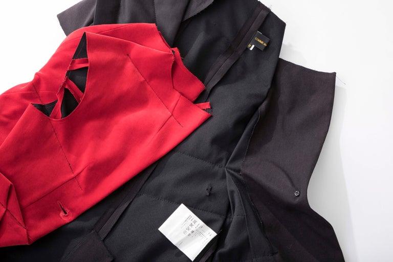 Comme Des Garcons Runway Black Cotton Linen Wool Red Velvet Jacket, Spring 2013 For Sale 7