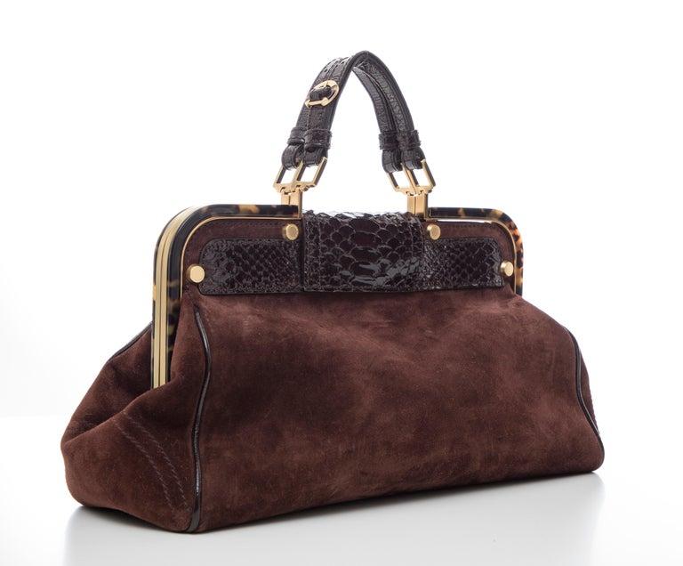 Oscar De La Renta Chocolate Brown Suede Lizard Top Handle Handbag, Fall 2007 In Excellent Condition For Sale In Cincinnati, OH