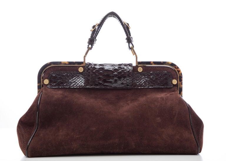 Women's Oscar De La Renta Chocolate Brown Suede Lizard Top Handle Handbag, Fall 2007 For Sale