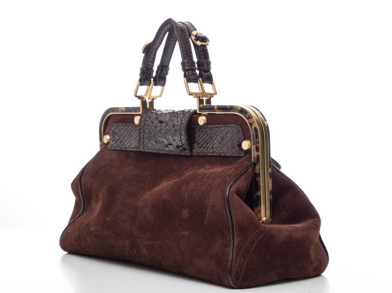 Oscar De La Renta Chocolate Brown Suede Lizard Top Handle Handbag, Fall 2007 For Sale 1