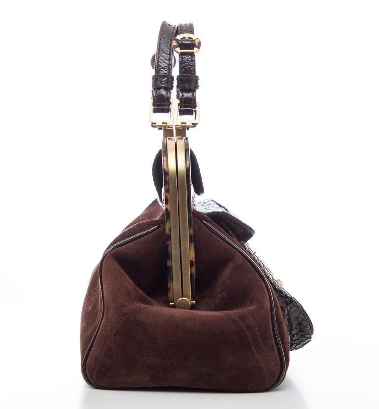 Oscar De La Renta Chocolate Brown Suede Lizard Top Handle Handbag, Fall 2007 For Sale 2