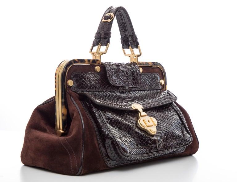 Oscar De La Renta Chocolate Brown Suede Lizard Top Handle Handbag, Fall 2007 For Sale 3
