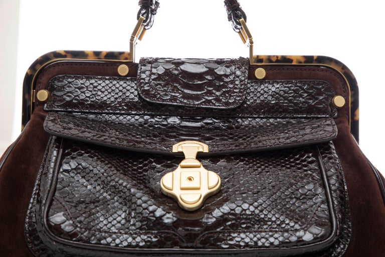 Oscar De La Renta Chocolate Brown Suede Lizard Top Handle Handbag, Fall 2007 For Sale 4