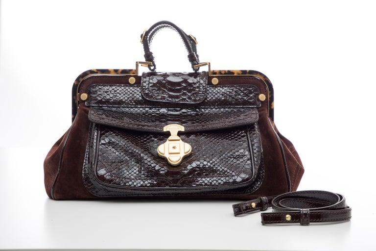 Oscar De La Renta Chocolate Brown Suede Lizard Top Handle Handbag, Fall 2007 For Sale 5
