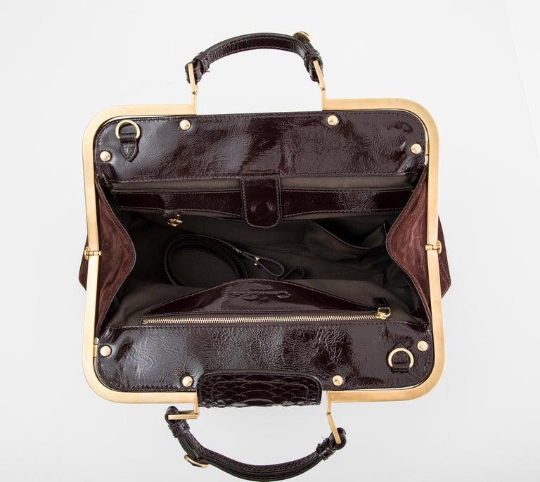 Oscar De La Renta Chocolate Brown Suede Lizard Top Handle Handbag, Fall 2007 For Sale 6