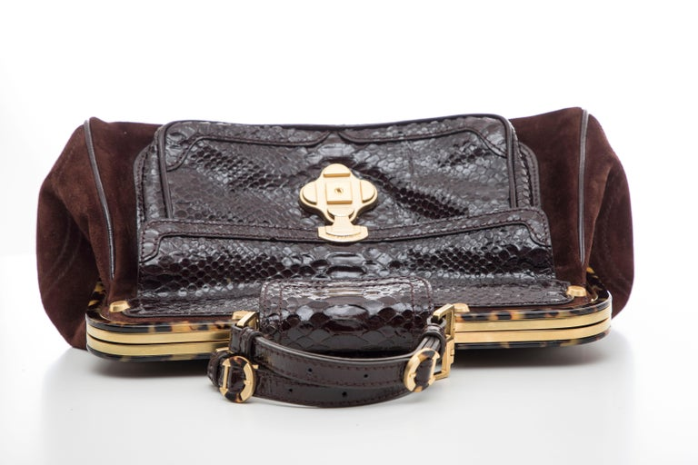 Oscar De La Renta Chocolate Brown Suede Lizard Top Handle Handbag, Fall 2007 For Sale 7