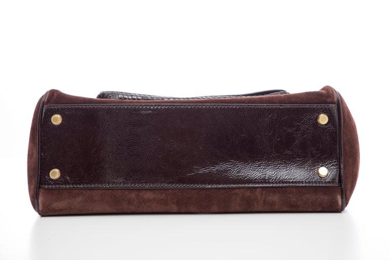 Oscar De La Renta Chocolate Brown Suede Lizard Top Handle Handbag, Fall 2007 For Sale 8